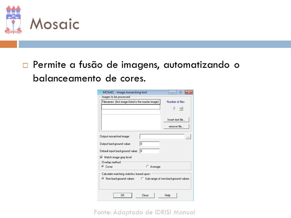 Mosaic Permite a fusão de imagens, automatizando o balanceamento de cores.