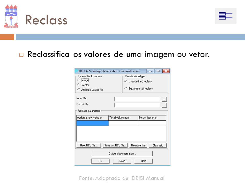 Reclass Reclassifica os valores de uma imagem ou vetor.