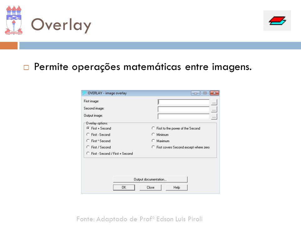 Overlay Permite operações matemáticas entre imagens.