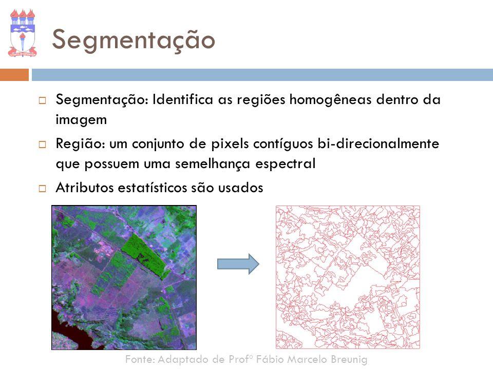 Segmentação Segmentação: Identifica as regiões homogêneas dentro da imagem.