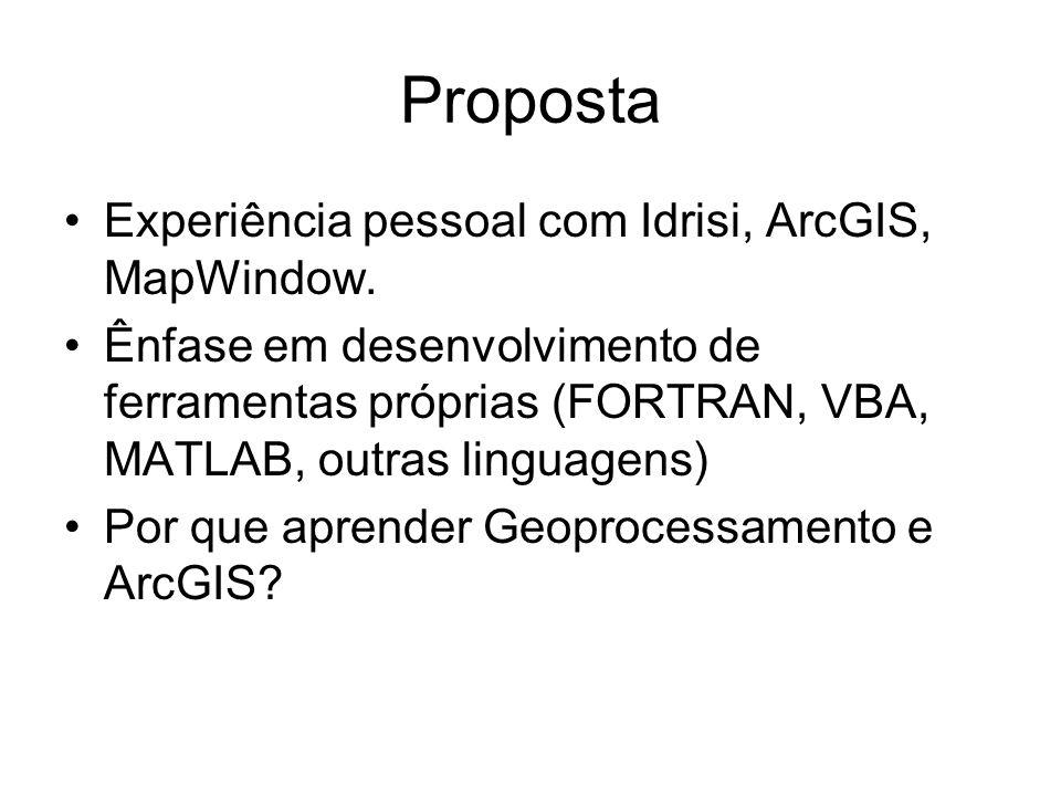 Proposta Experiência pessoal com Idrisi, ArcGIS, MapWindow.