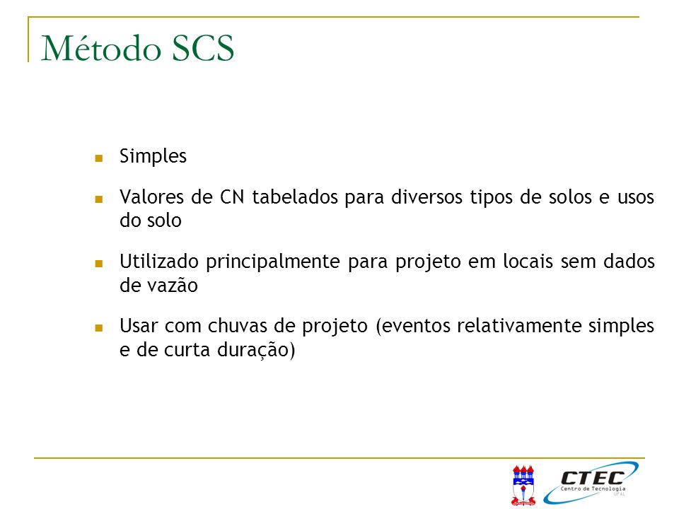 Método SCS Simples. Valores de CN tabelados para diversos tipos de solos e usos do solo.