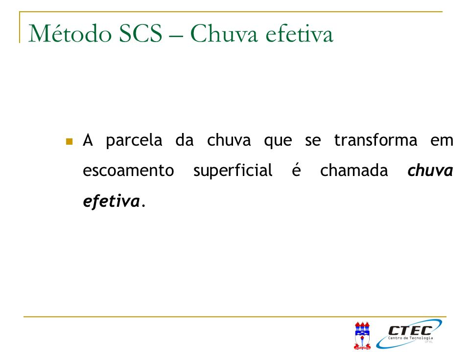 Método SCS – Chuva efetiva