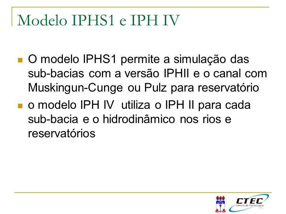 Modelo IPHS1 e IPH IV O modelo IPHS1 permite a simulação das sub-bacias com a versão IPHII e o canal com Muskingun-Cunge ou Pulz para reservatório.