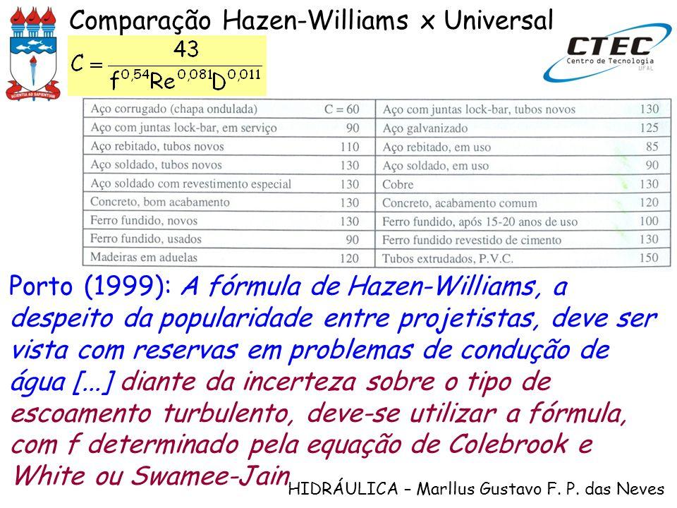 Comparação Hazen-Williams x Universal
