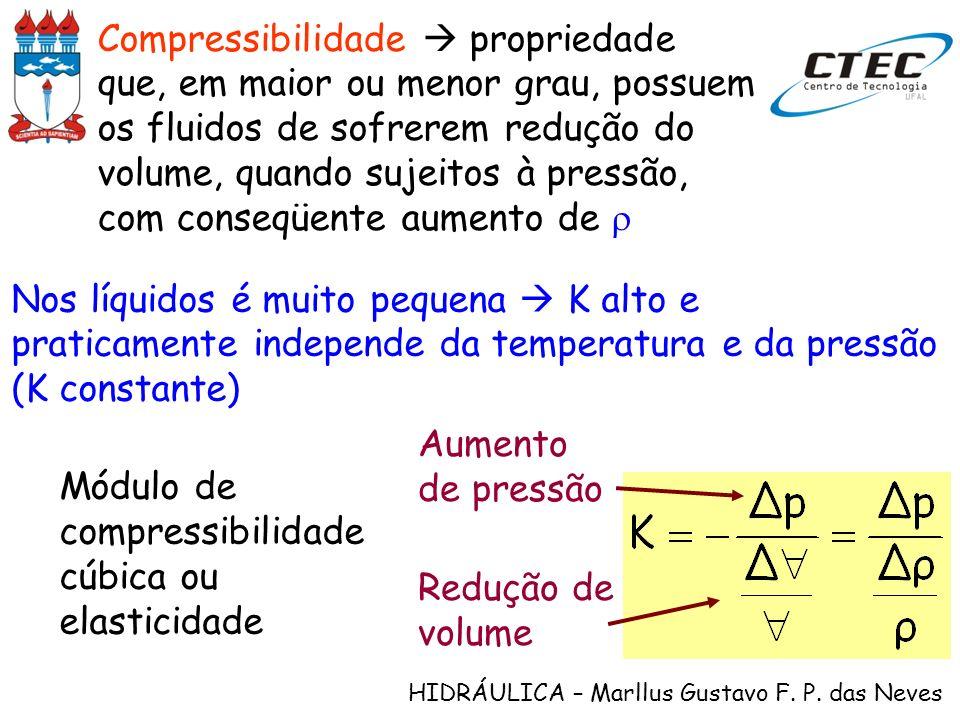 Compressibilidade  propriedade que, em maior ou menor grau, possuem os fluidos de sofrerem redução do volume, quando sujeitos à pressão, com conseqüente aumento de r