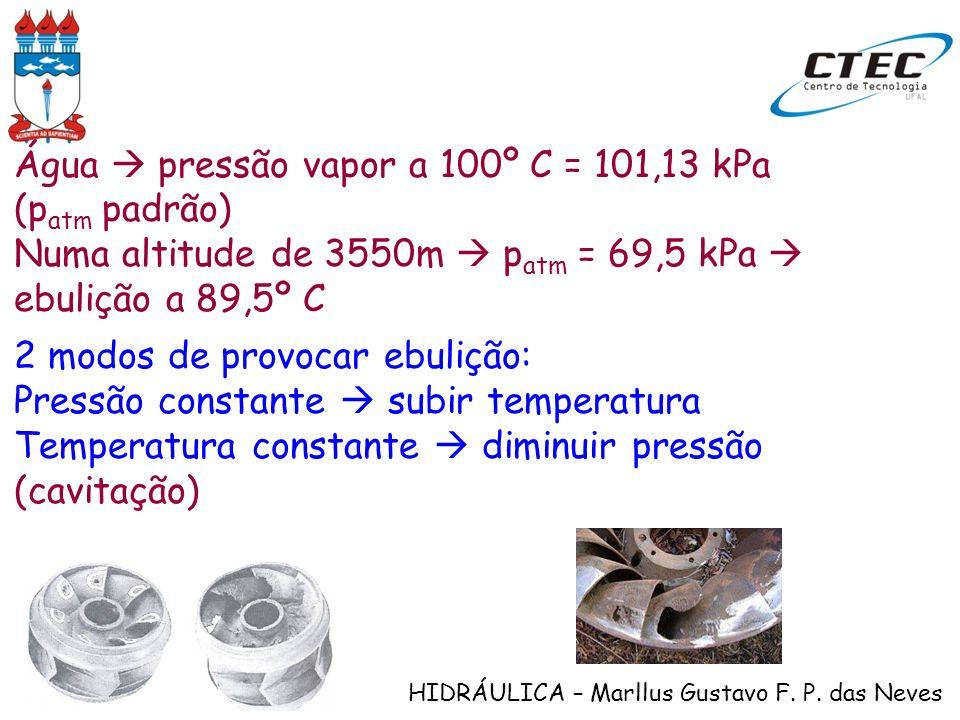 Água  pressão vapor a 100º C = 101,13 kPa