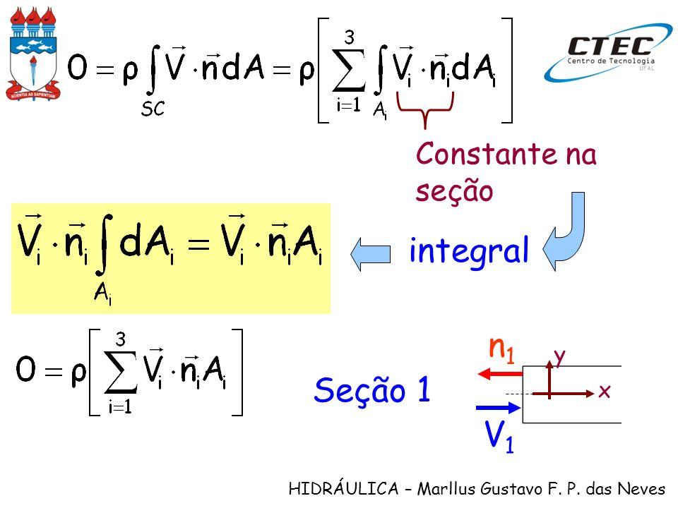 Constante na seção integral V1 n1 x y Seção 1