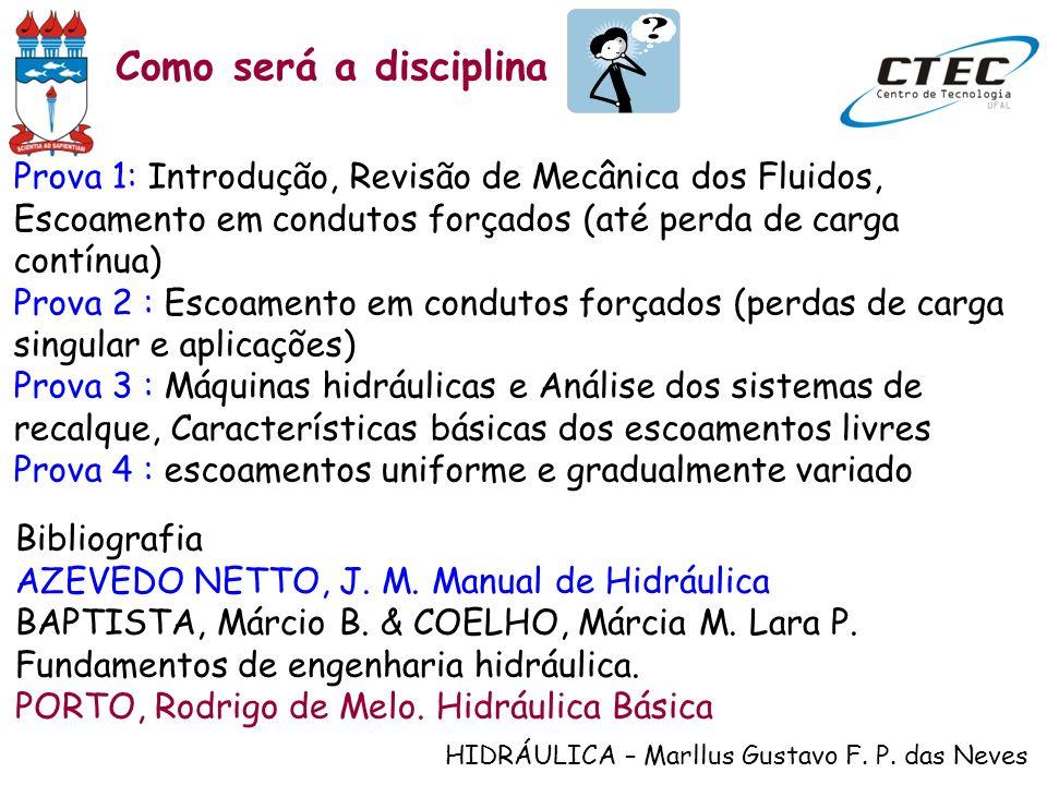 Como será a disciplinaProva 1: Introdução, Revisão de Mecânica dos Fluidos, Escoamento em condutos forçados (até perda de carga contínua)