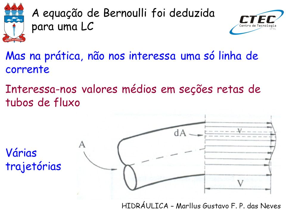 A equação de Bernoulli foi deduzida para uma LC