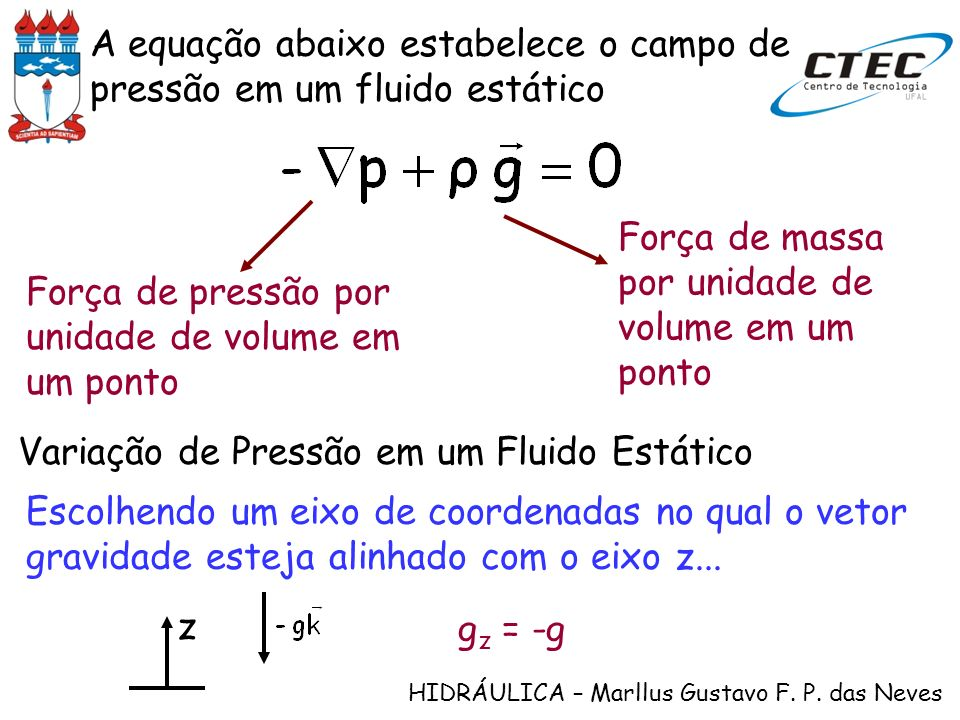 A equação abaixo estabelece o campo de pressão em um fluido estático