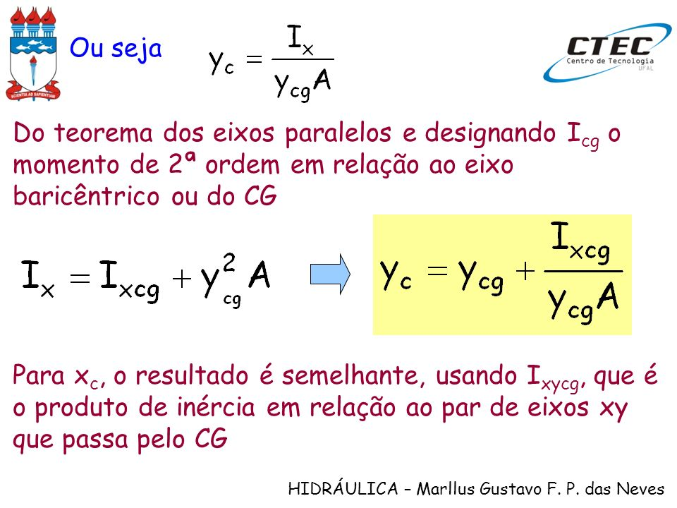 Ou sejaDo teorema dos eixos paralelos e designando Icg o momento de 2ª ordem em relação ao eixo baricêntrico ou do CG.