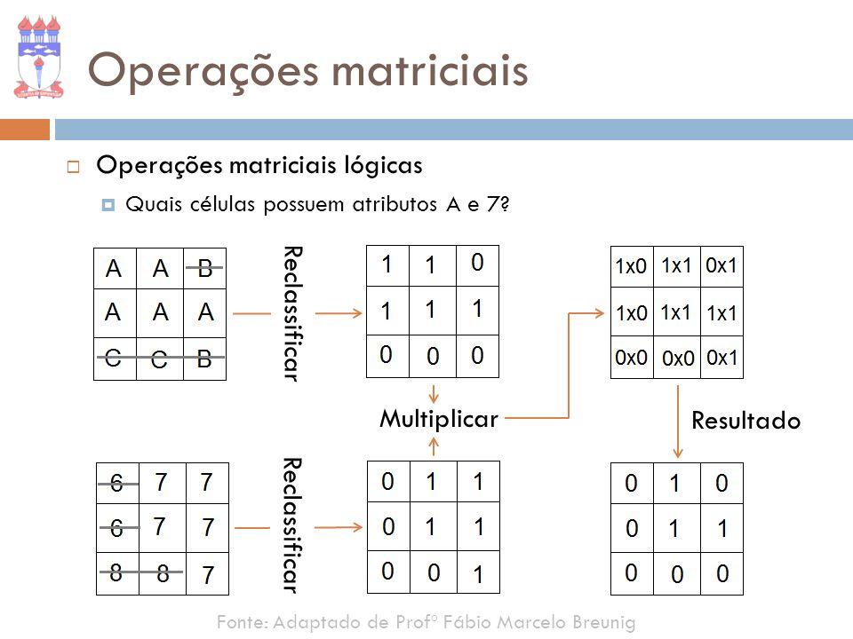 Operações matriciais Operações matriciais lógicas Reclassificar
