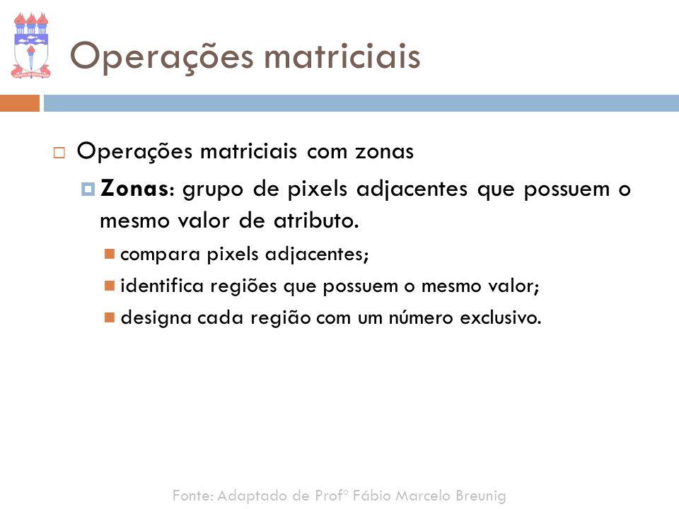 Operações matriciais Operações matriciais com zonas