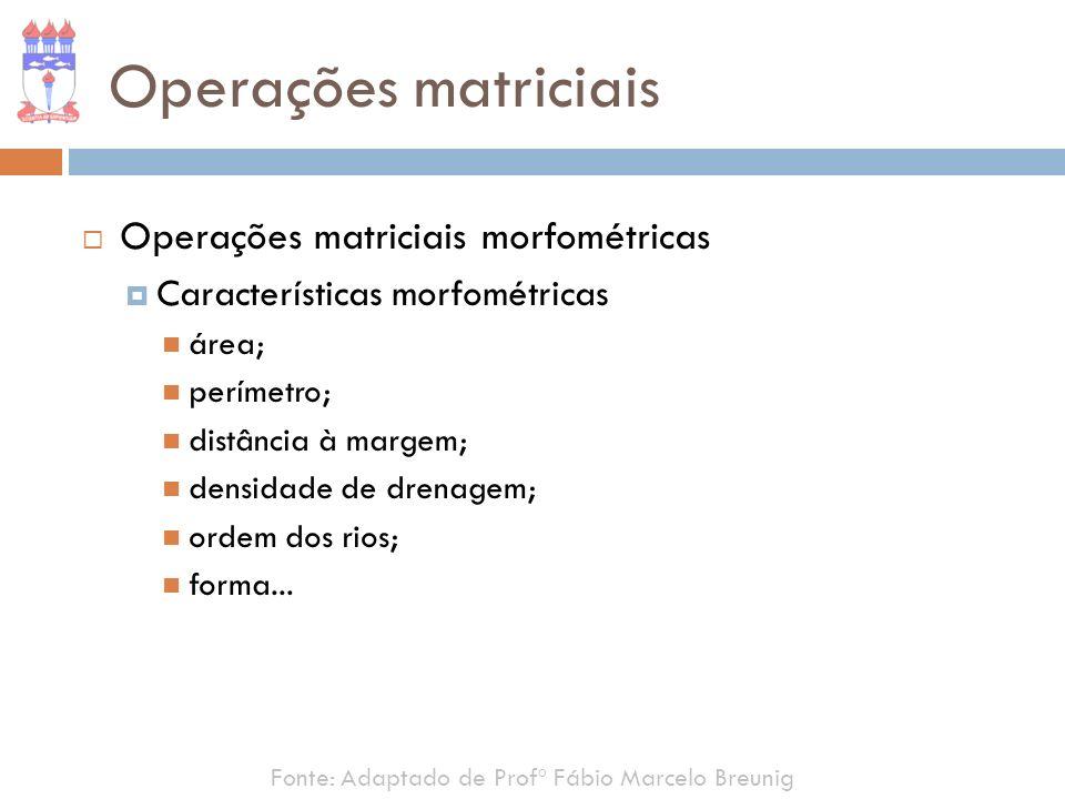 Operações matriciais Operações matriciais morfométricas