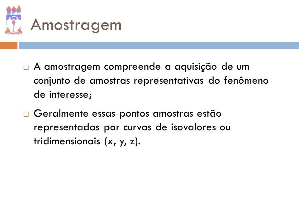Amostragem A amostragem compreende a aquisição de um conjunto de amostras representativas do fenômeno de interesse;