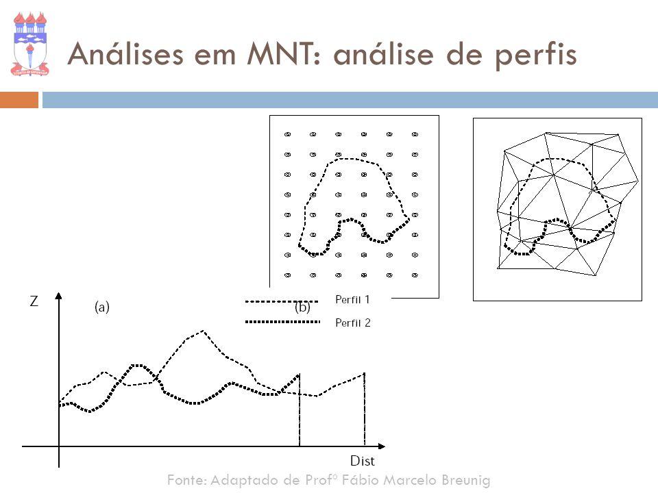 Análises em MNT: análise de perfis