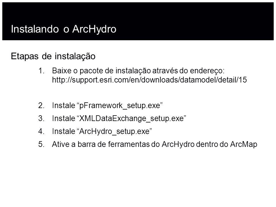 Instalando o ArcHydro Etapas de instalação