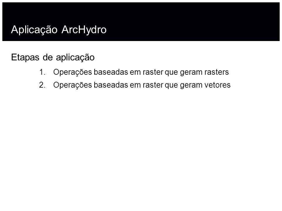 Aplicação ArcHydro Etapas de aplicação