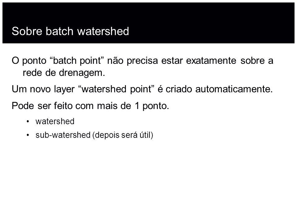 Sobre batch watershedO ponto batch point não precisa estar exatamente sobre a rede de drenagem.