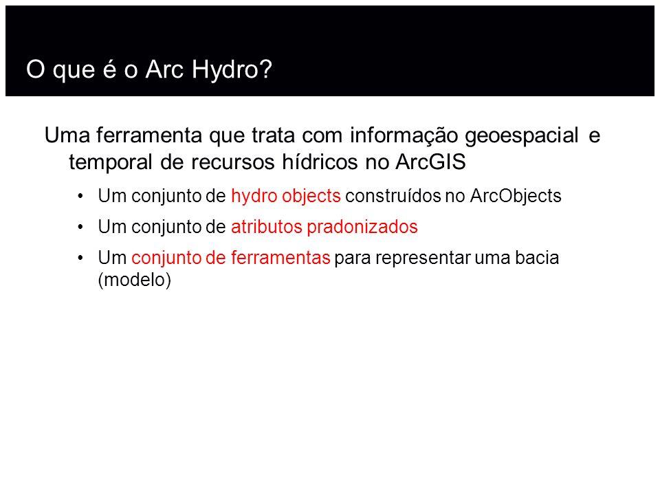 O que é o Arc Hydro Uma ferramenta que trata com informação geoespacial e temporal de recursos hídricos no ArcGIS.