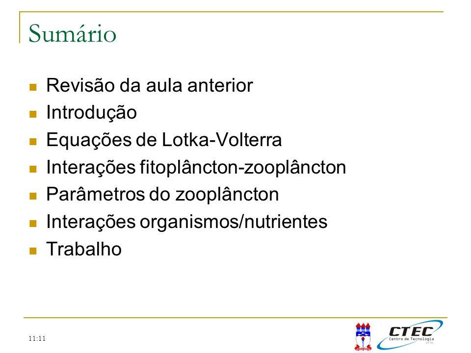 Sumário Revisão da aula anterior Introdução Equações de Lotka-Volterra