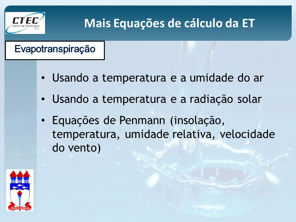 Mais Equações de cálculo da ET