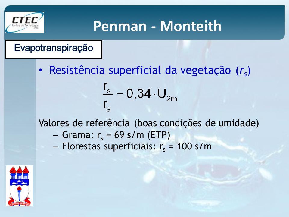 Penman - Monteith Resistência superficial da vegetação (rs)