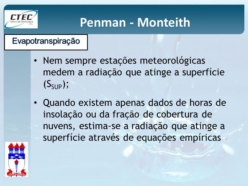 Penman - Monteith Evapotranspiração. Nem sempre estações meteorológicas medem a radiação que atinge a superfície (SSUP);