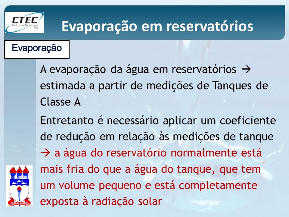 Evaporação em reservatórios