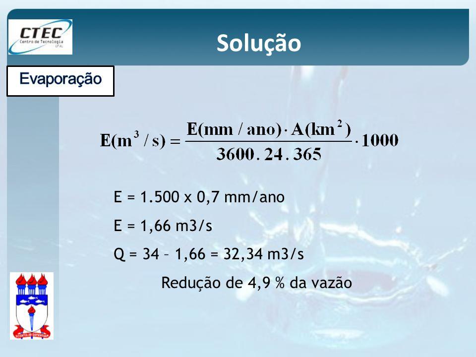 Solução Evaporação E = 1.500 x 0,7 mm/ano E = 1,66 m3/s