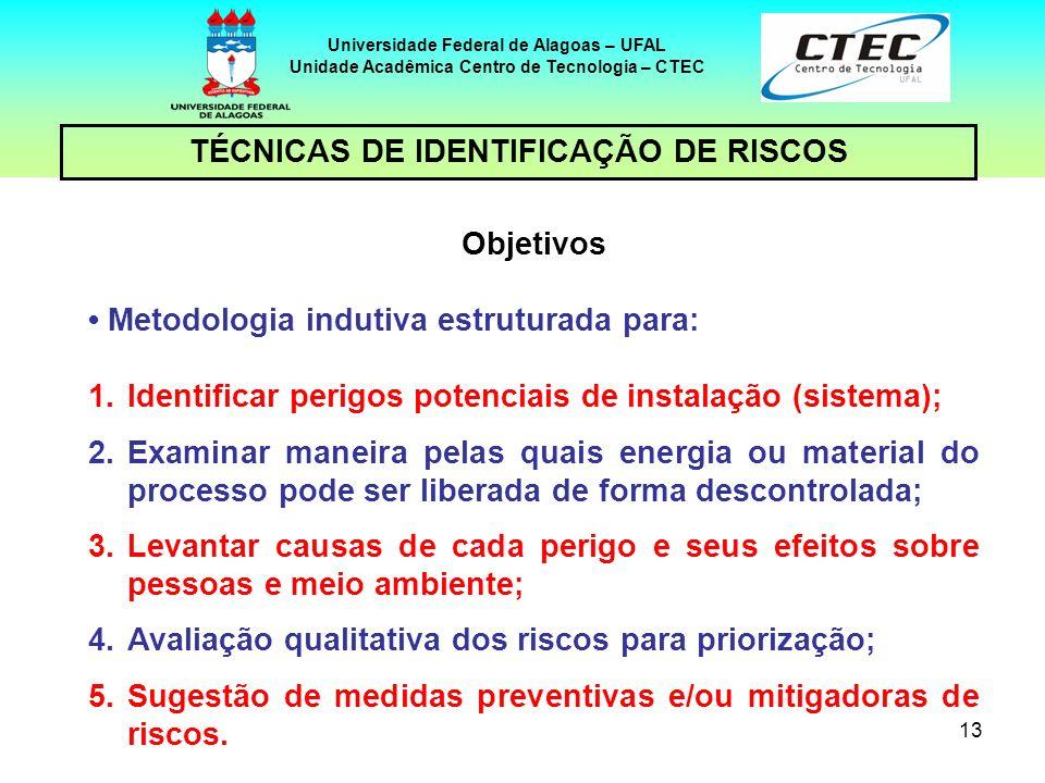TÉCNICAS DE IDENTIFICAÇÃO DE RISCOS Objetivos