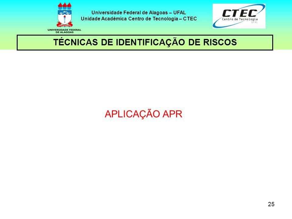 APLICAÇÃO APR TÉCNICAS DE IDENTIFICAÇÃO DE RISCOS 25