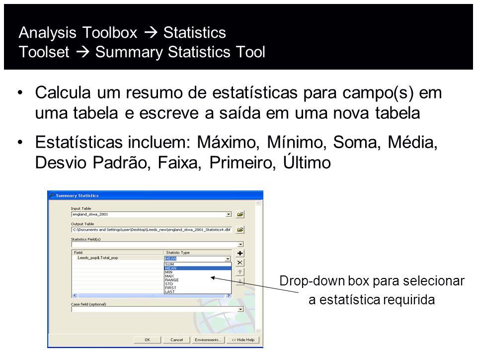 Analysis Toolbox  Statistics Toolset  Summary Statistics Tool