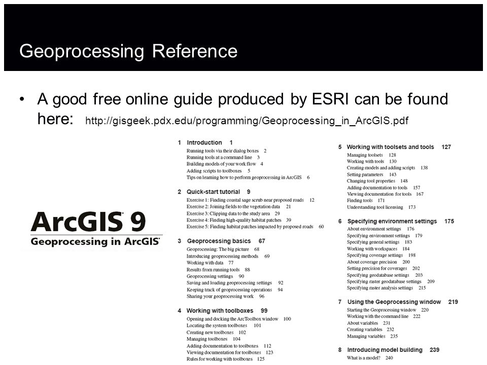 Geoprocessing Reference