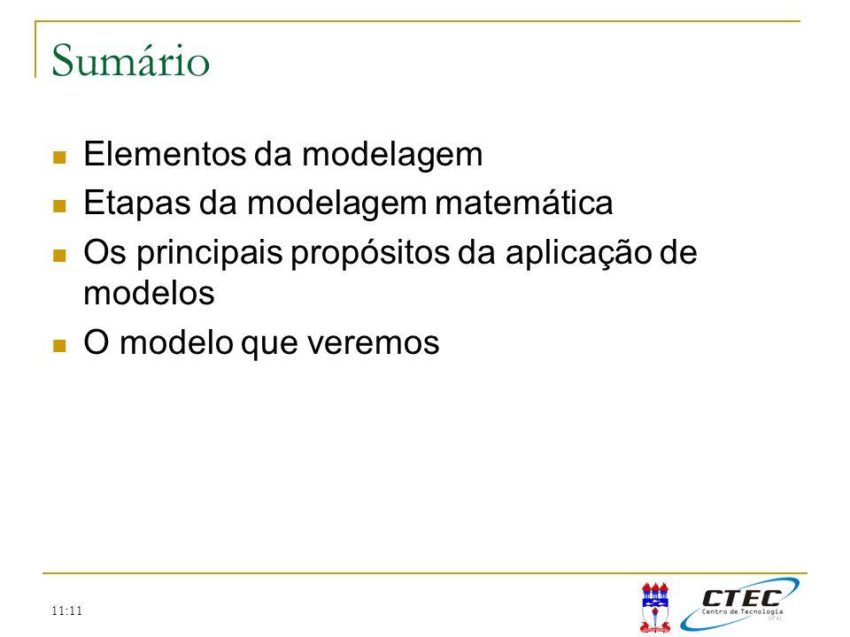 Sumário Elementos da modelagem Etapas da modelagem matemática