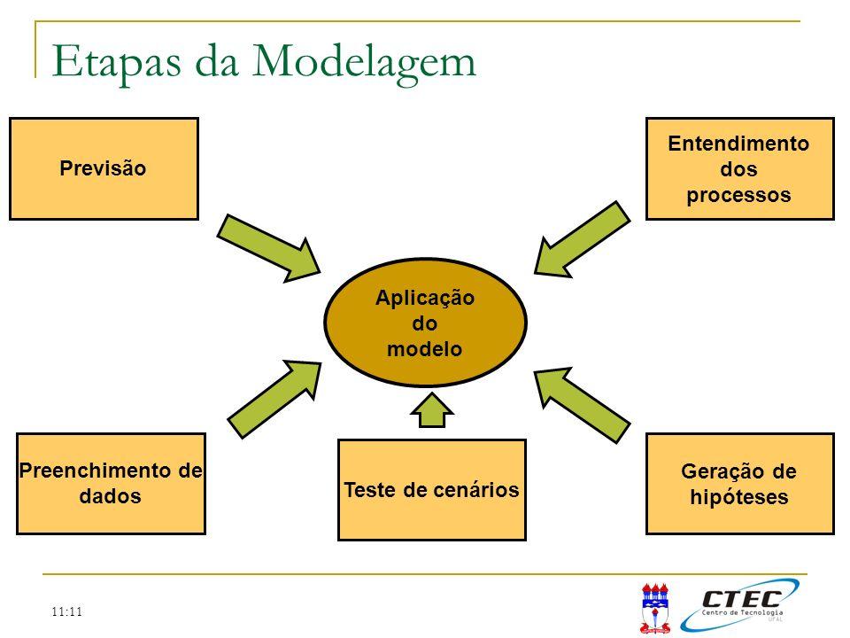 Etapas da Modelagem Previsão Entendimento dos processos Aplicação do