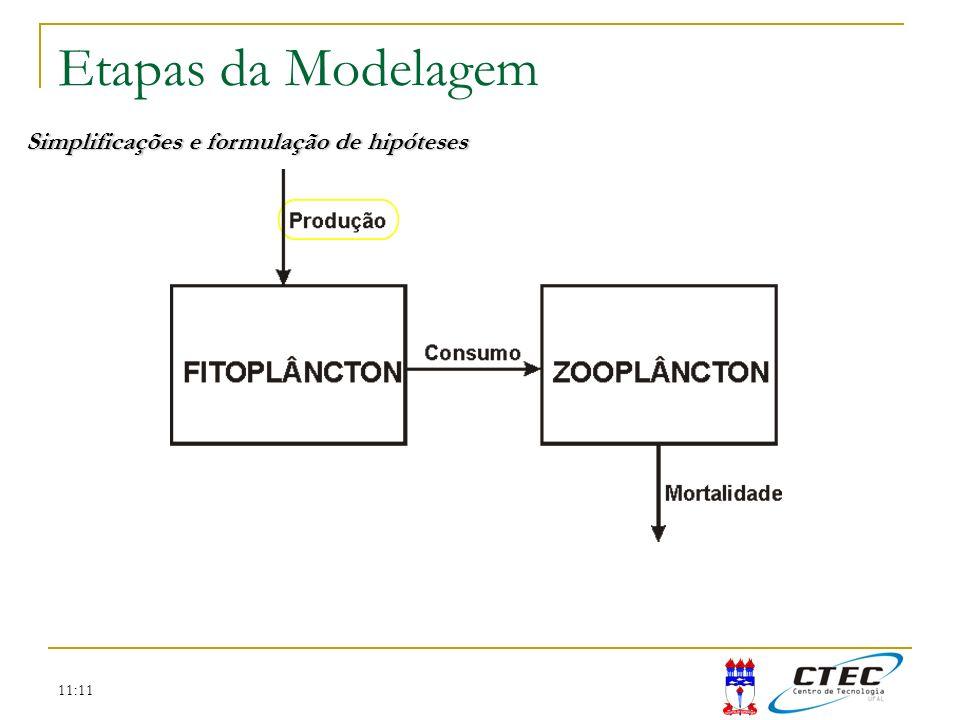 Etapas da Modelagem Simplificações e formulação de hipóteses 11:11
