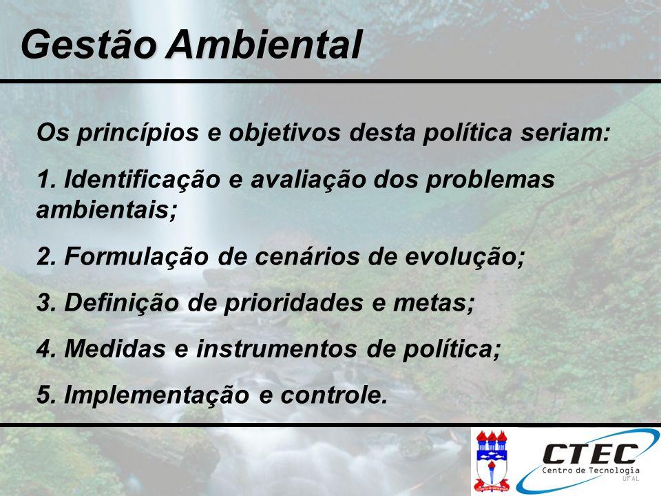 Gestão Ambiental Os princípios e objetivos desta política seriam: