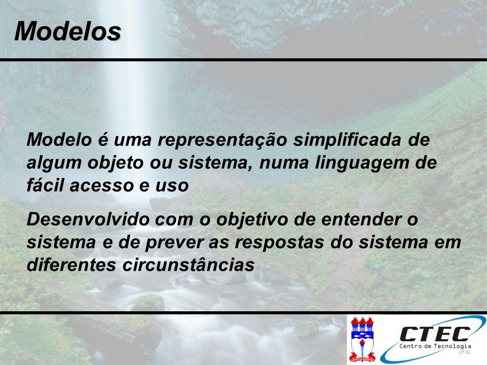 Modelos Modelo é uma representação simplificada de algum objeto ou sistema, numa linguagem de fácil acesso e uso.