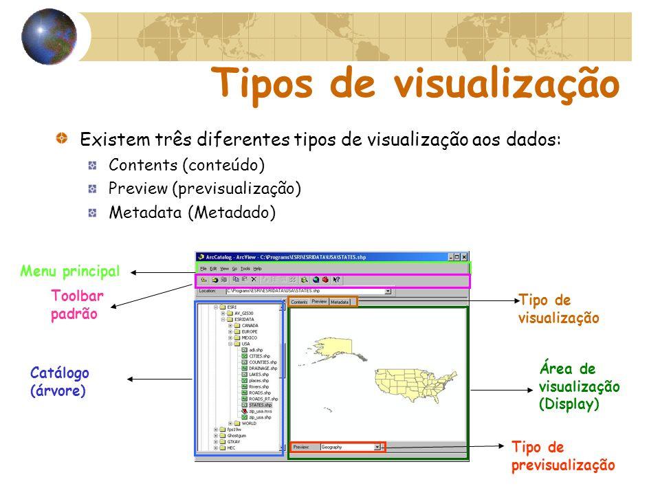 Tipos de visualização Existem três diferentes tipos de visualização aos dados: Contents (conteúdo)