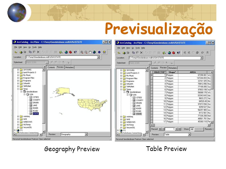 Previsualização Geography Preview Table Preview