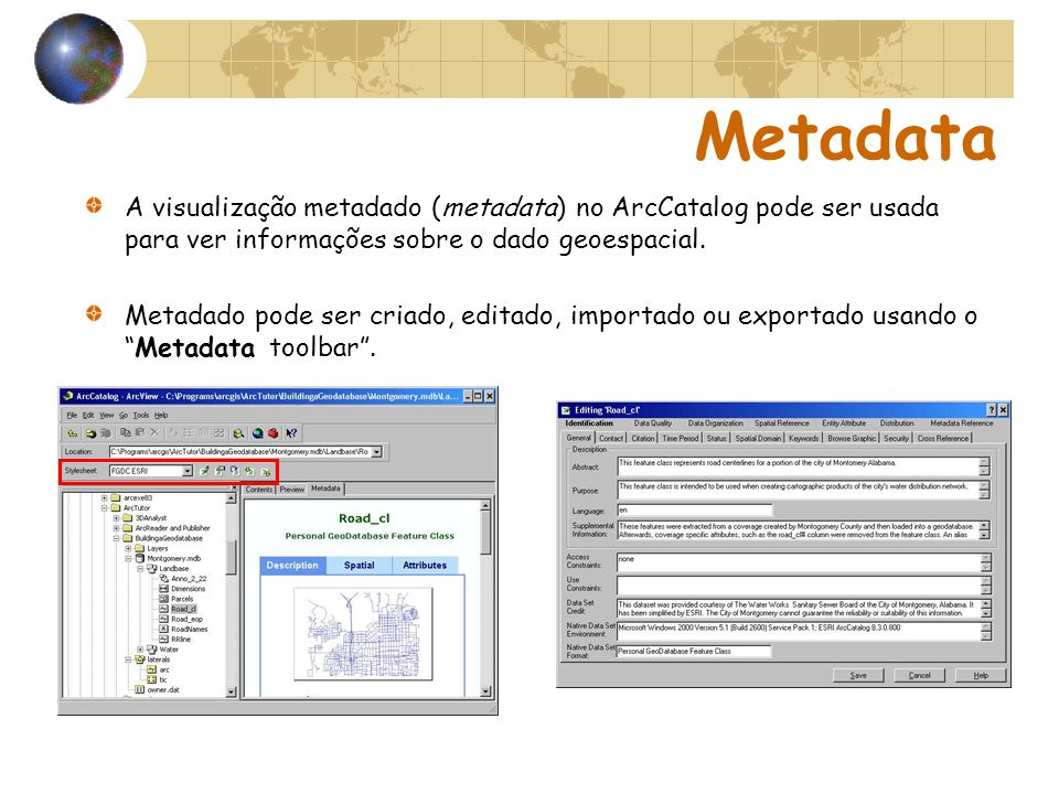 Metadata A visualização metadado (metadata) no ArcCatalog pode ser usada para ver informações sobre o dado geoespacial.