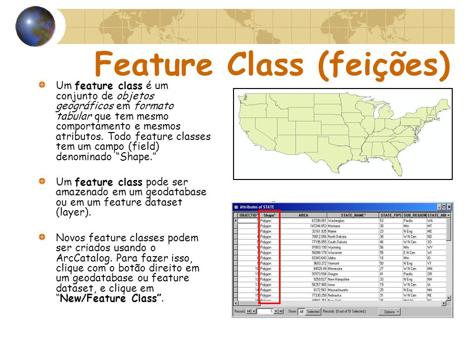 Feature Class (feições)