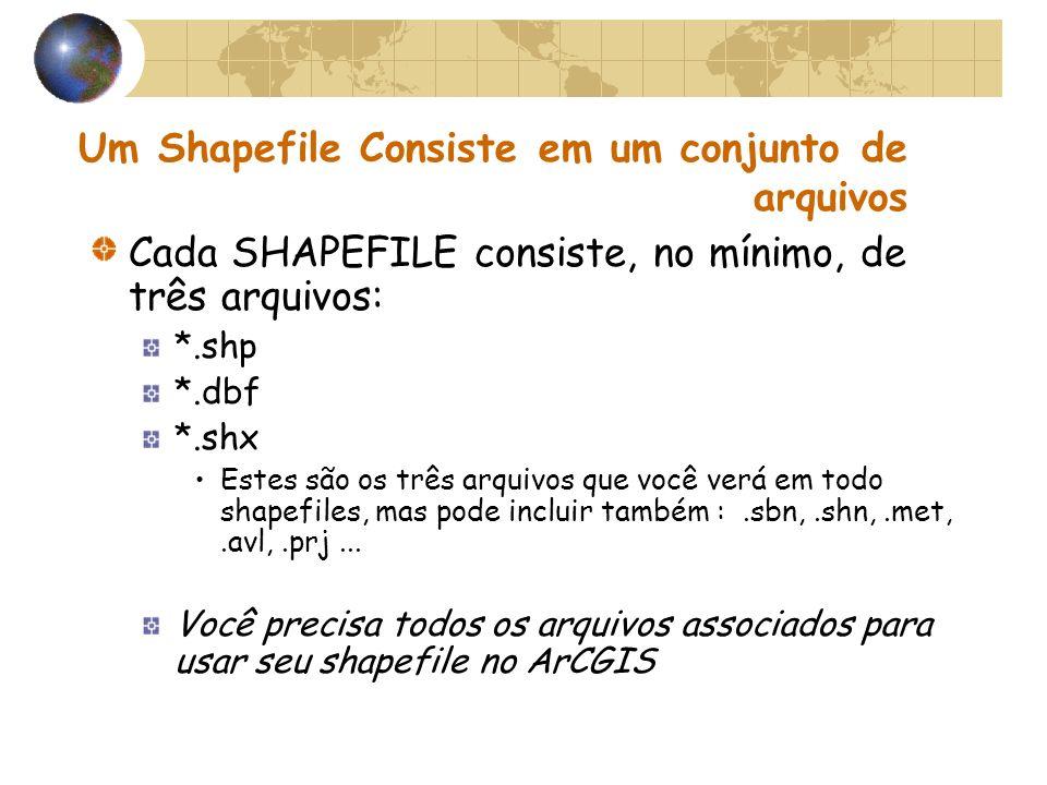 Um Shapefile Consiste em um conjunto de arquivos