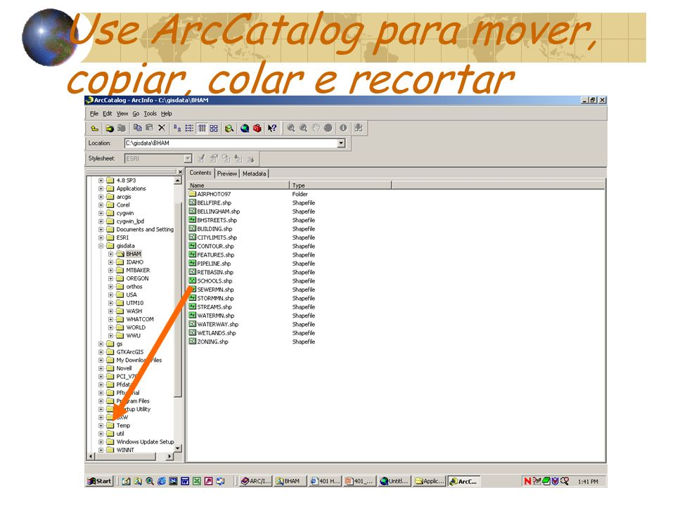 Use ArcCatalog para mover, copiar, colar e recortar