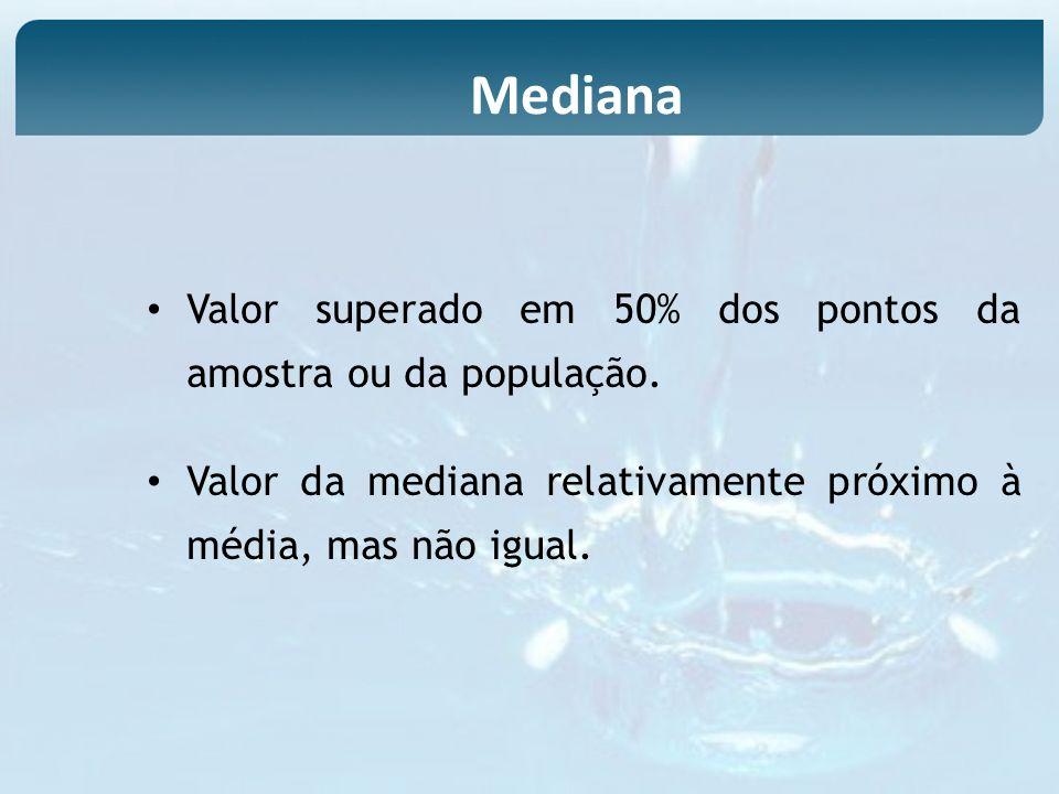 Mediana Valor superado em 50% dos pontos da amostra ou da população.