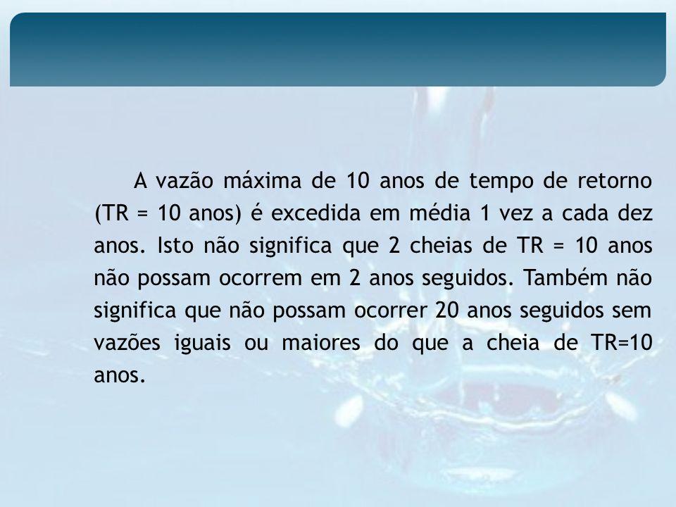 A vazão máxima de 10 anos de tempo de retorno (TR = 10 anos) é excedida em média 1 vez a cada dez anos.