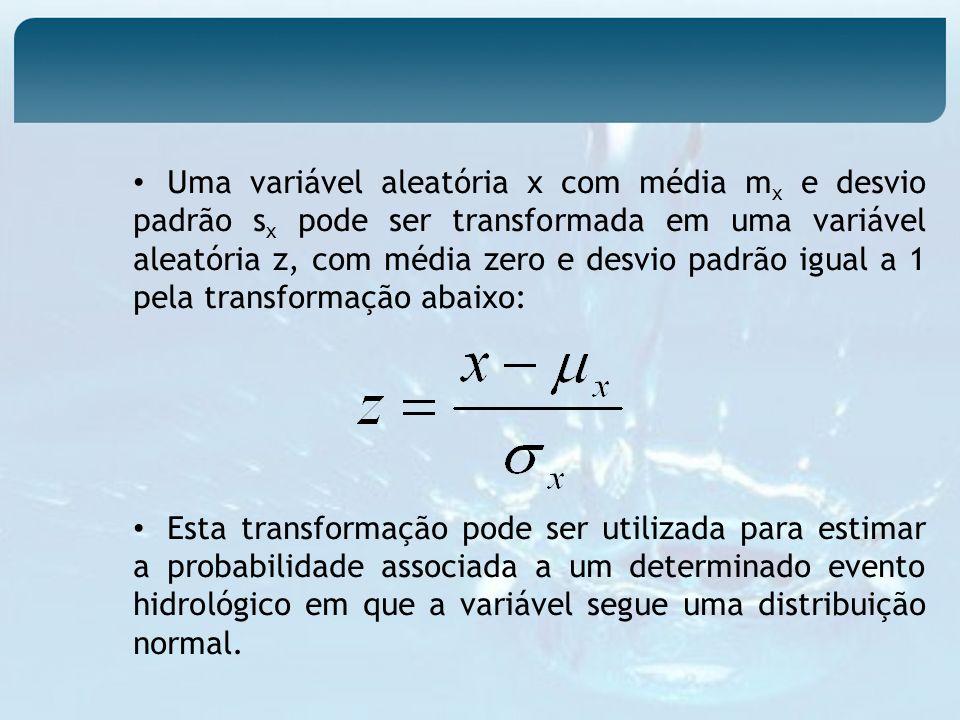 Uma variável aleatória x com média mx e desvio padrão sx pode ser transformada em uma variável aleatória z, com média zero e desvio padrão igual a 1 pela transformação abaixo: