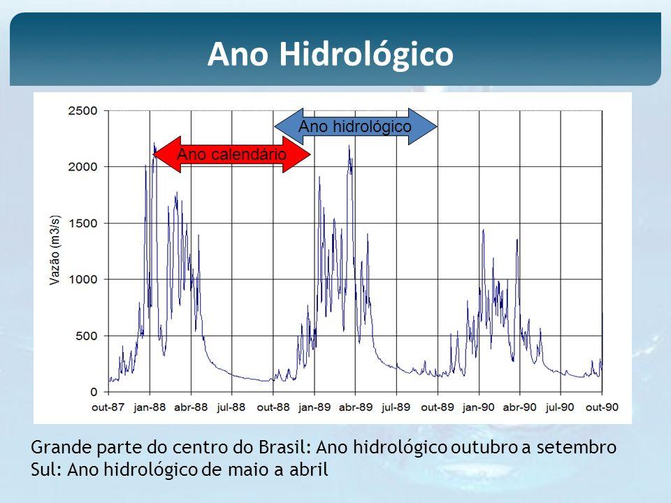 Ano Hidrológico Ano hidrológico. Ano calendário. Grande parte do centro do Brasil: Ano hidrológico outubro a setembro.